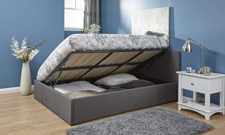 Cama con canapé abatible de 140 cm aprox. tapizada en doble tela gris