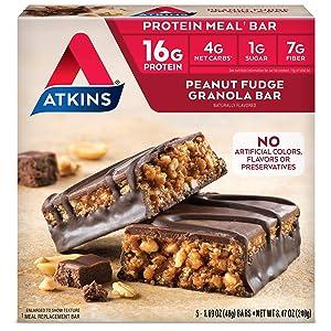 Atkins Peanut Fudge Granola Protein Meal Bar. Rich and Crunchy. Keto-Friendly. (5 Bars)