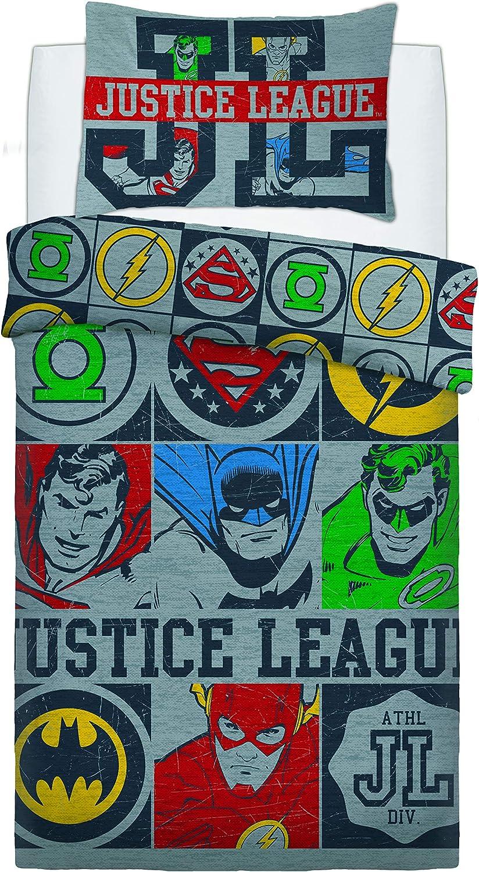 Single Justice League Vintage Icons Reversible Duvet Set Multicolored