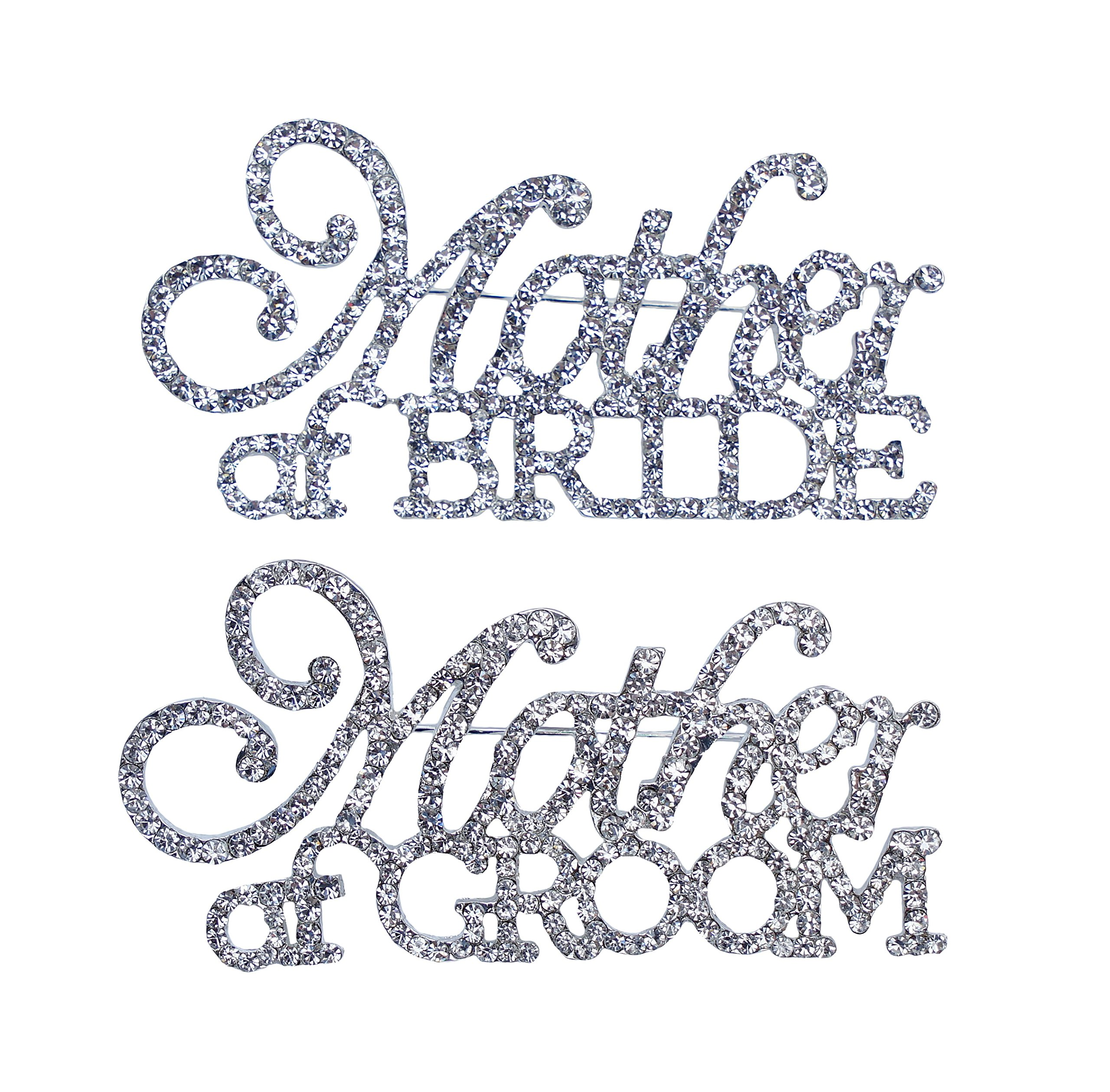 Unik Occasions Mother of the Bride & Mother of the Groom Rhinestone Pin Set in Silver