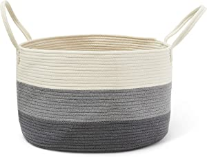 ColeyBear Woven Laundry Basket Three Toned Off White, Grey, Dark Grey Toy/Storage Bin Throw Blanket Basket Home Decor Plant Holder Cotton Rope Decorative Basket Adorable Nursery/Kids Room/Bedroom