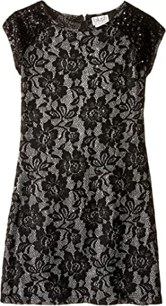 6617dd44a8f6 Amazon.com  Us Angels Girl s Short Sleeve Bonded Glitter Lace Sheath ...