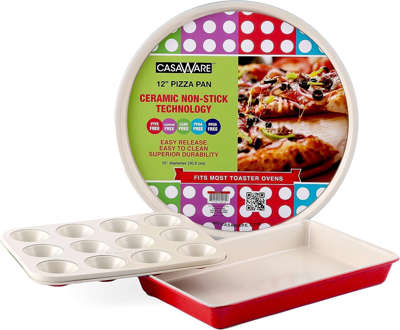 casaWare Toaster Oven 3pc Set Ceramic Coated Non-Stick (Cream/Red)