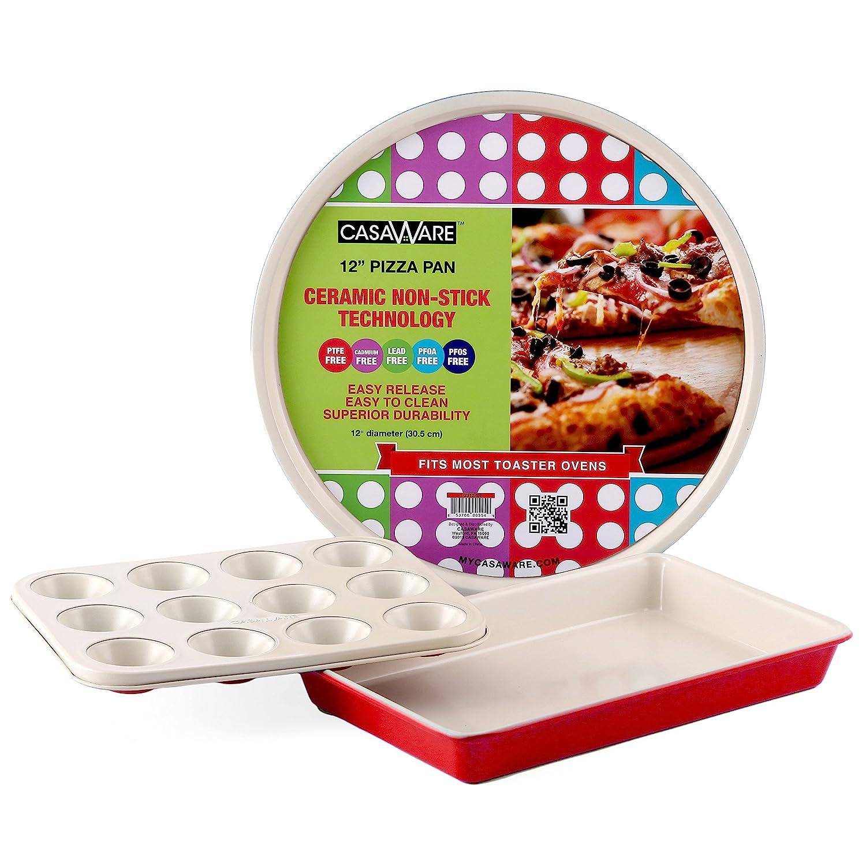 casaWare Toaster Oven 3pc Set Ceramic Coated Non-Stick Cream//Blue