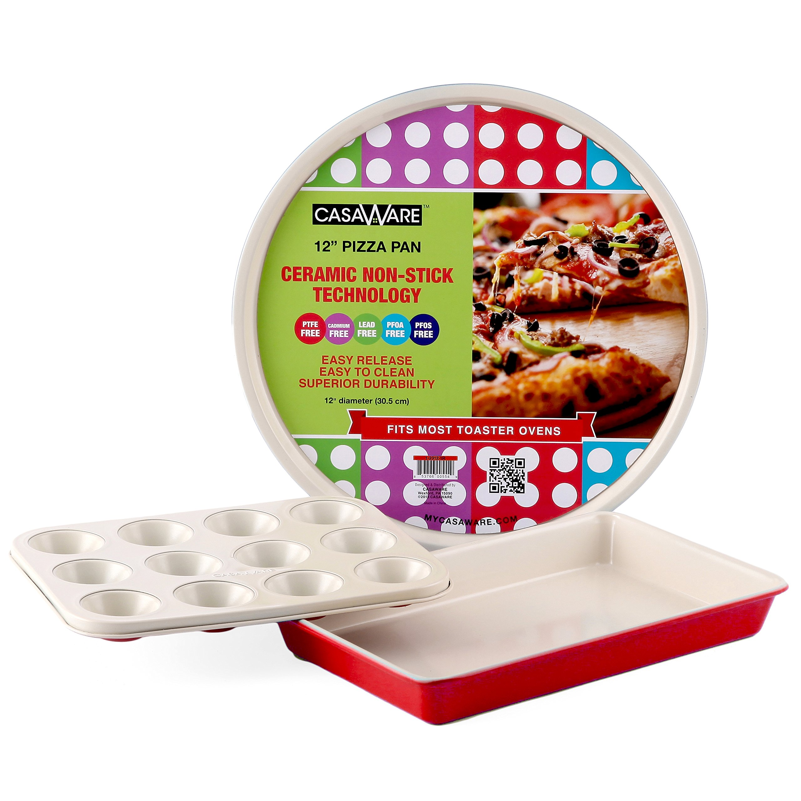 casaWare Toaster Oven 3pc Set Ceramic Coated Non-Stick (Cream/Red) by casaWare