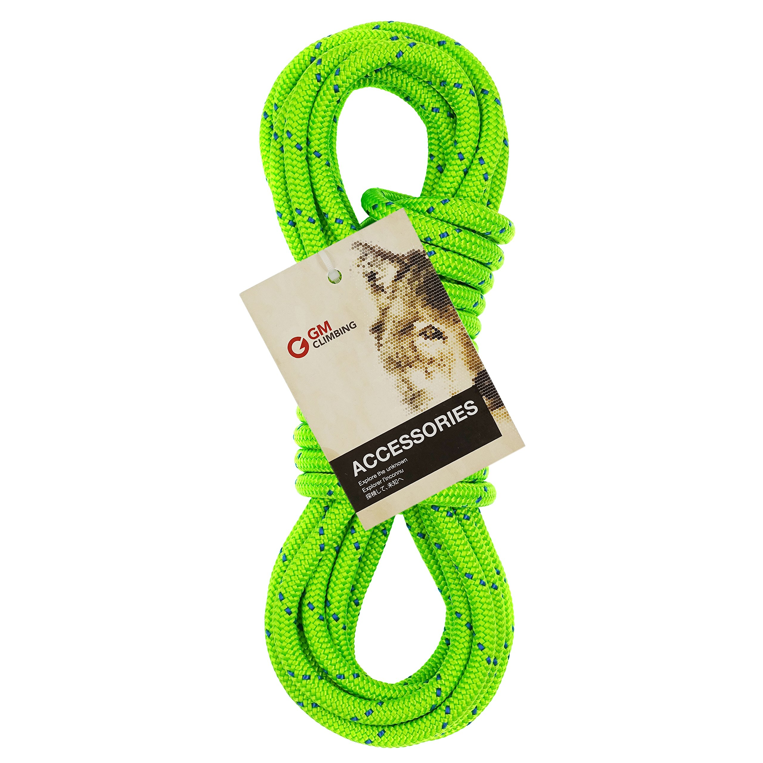 GM CLIMBING 6mm Accessory Cord Rope Double Braid Black Pre Cut CE (Green Flecks, 6mm 100ft) by GM CLIMBING