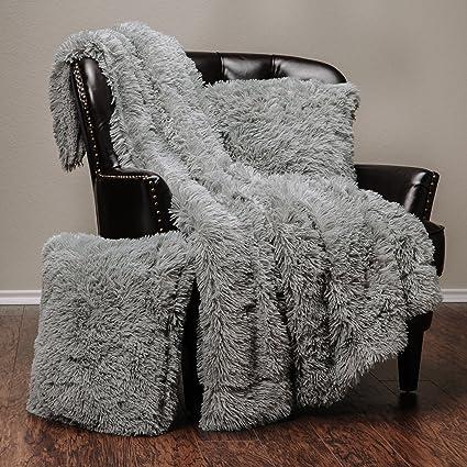 b083fe8cb8 Chanasya 3-Piece Super Soft Shaggy Throw Blanket Pillow Cover Set - Chic  Fuzzy Faux