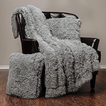 Excellent Chanasya 3 Piece Shaggy Throw Blanket Pillow Cover Set Chic Fuzzy Faux Fur Sherpa Throw 50X65 Inches 2 Throw Pillow Covers 18X18 Inches For Bed Inzonedesignstudio Interior Chair Design Inzonedesignstudiocom