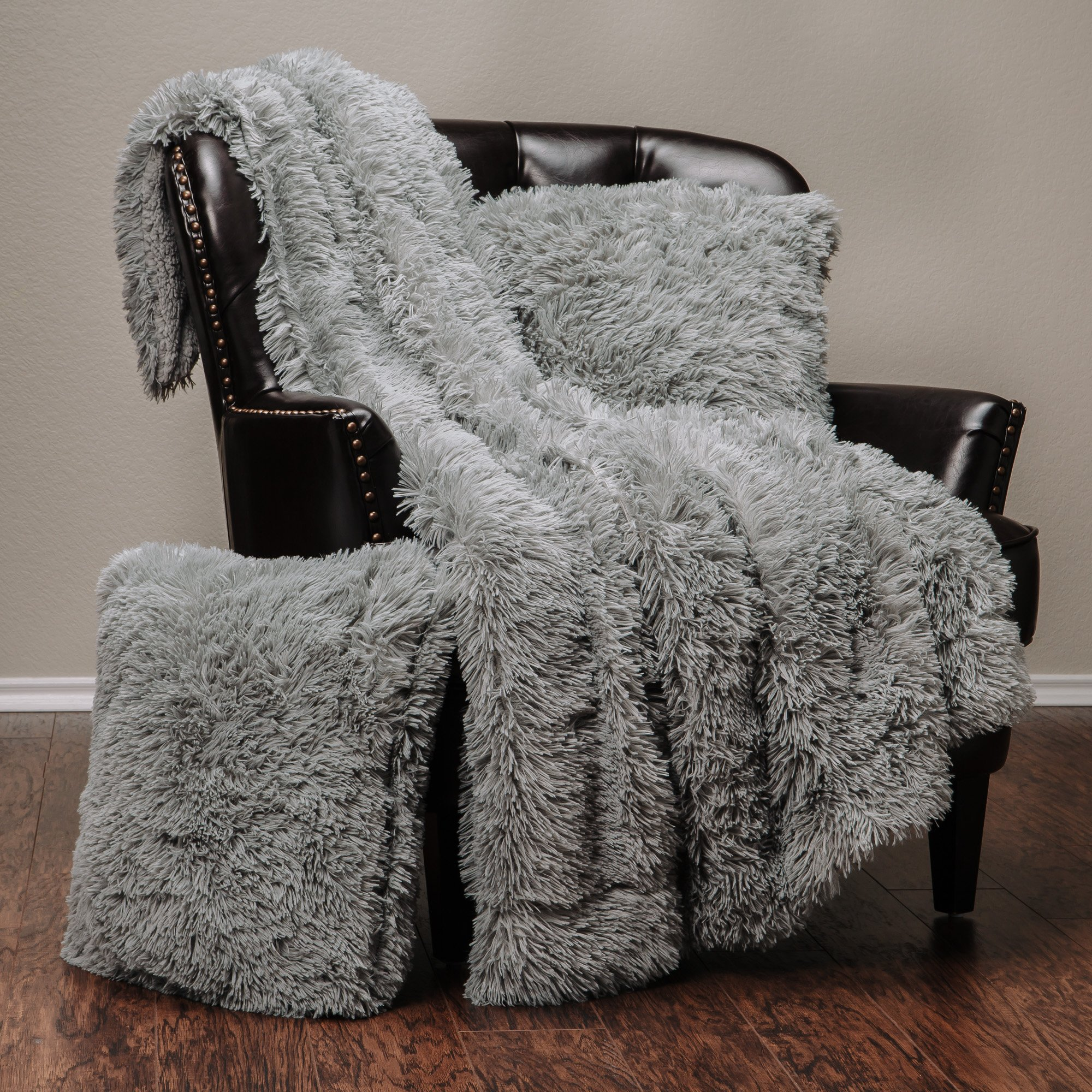 3 Piece Soft Shaggy Throw Blanket Pillow Cover Set Chic