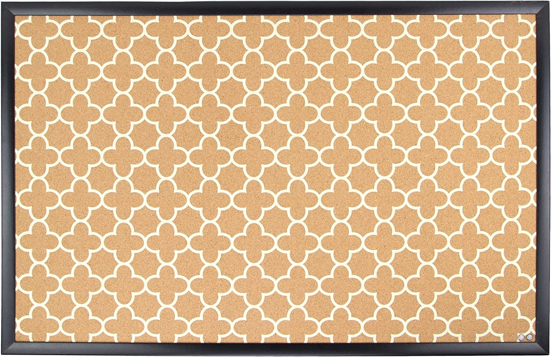 U Brands Cork Bulletin Board, 23 x 35 Inches, Black Wood Frame, Fashion Design Print (306U00-01)