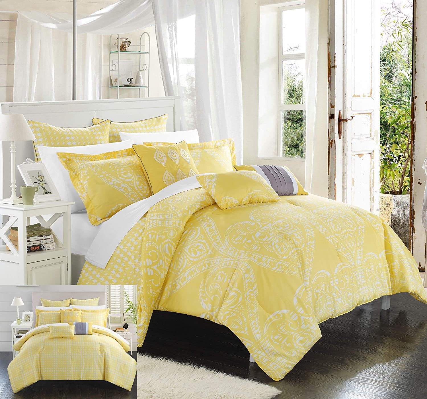 Chic Home CS3462-AN 8 Piece Sicily Oversized Overfilled Comforter Set, Queen, Yellow