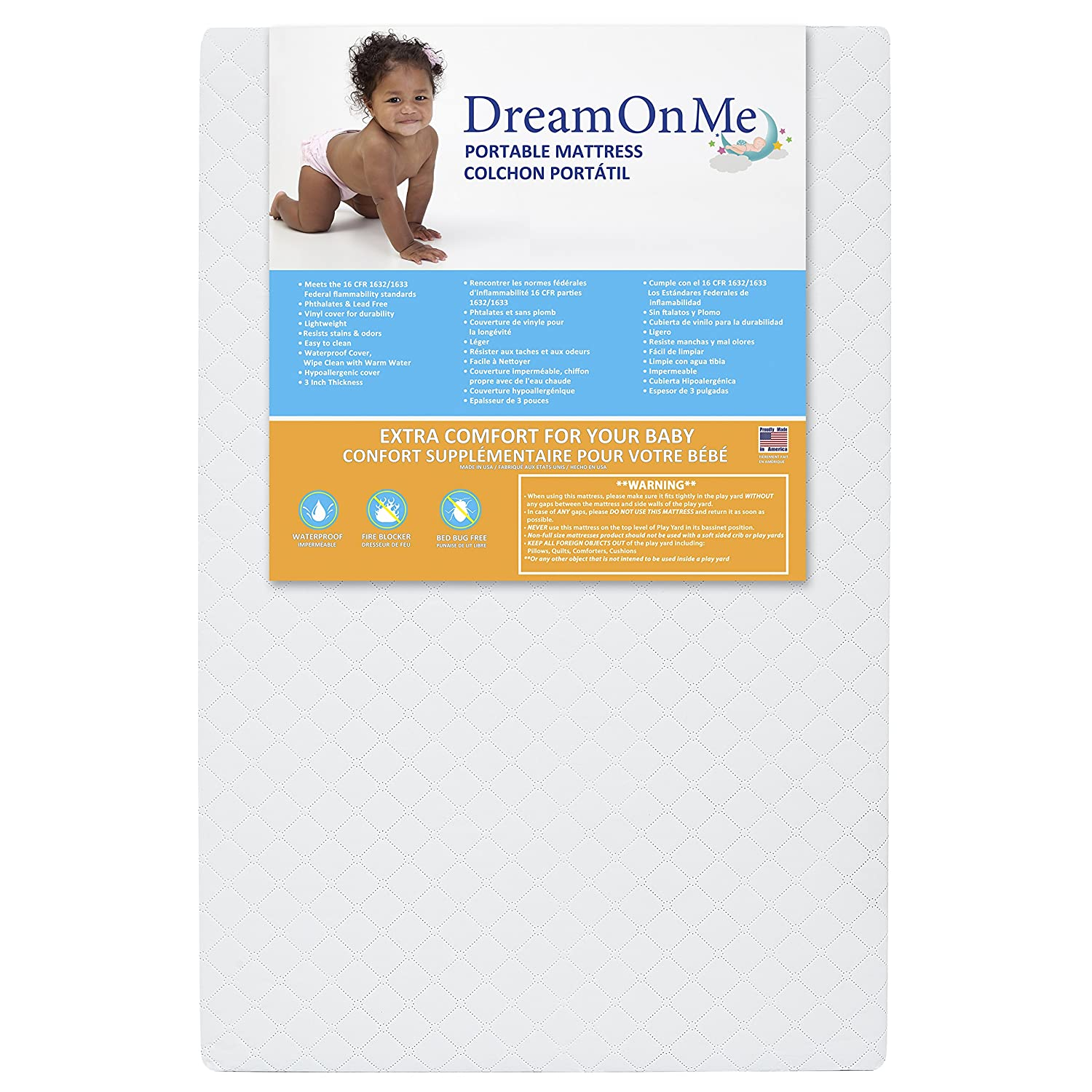 Dream On Me 3-Inch Extra Firm Portable Crib Mattress, White 24X