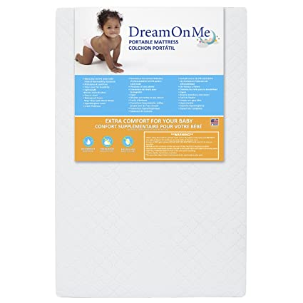 "White Dream On Me 3/"" Extra Firm Portable Crib Mattress"