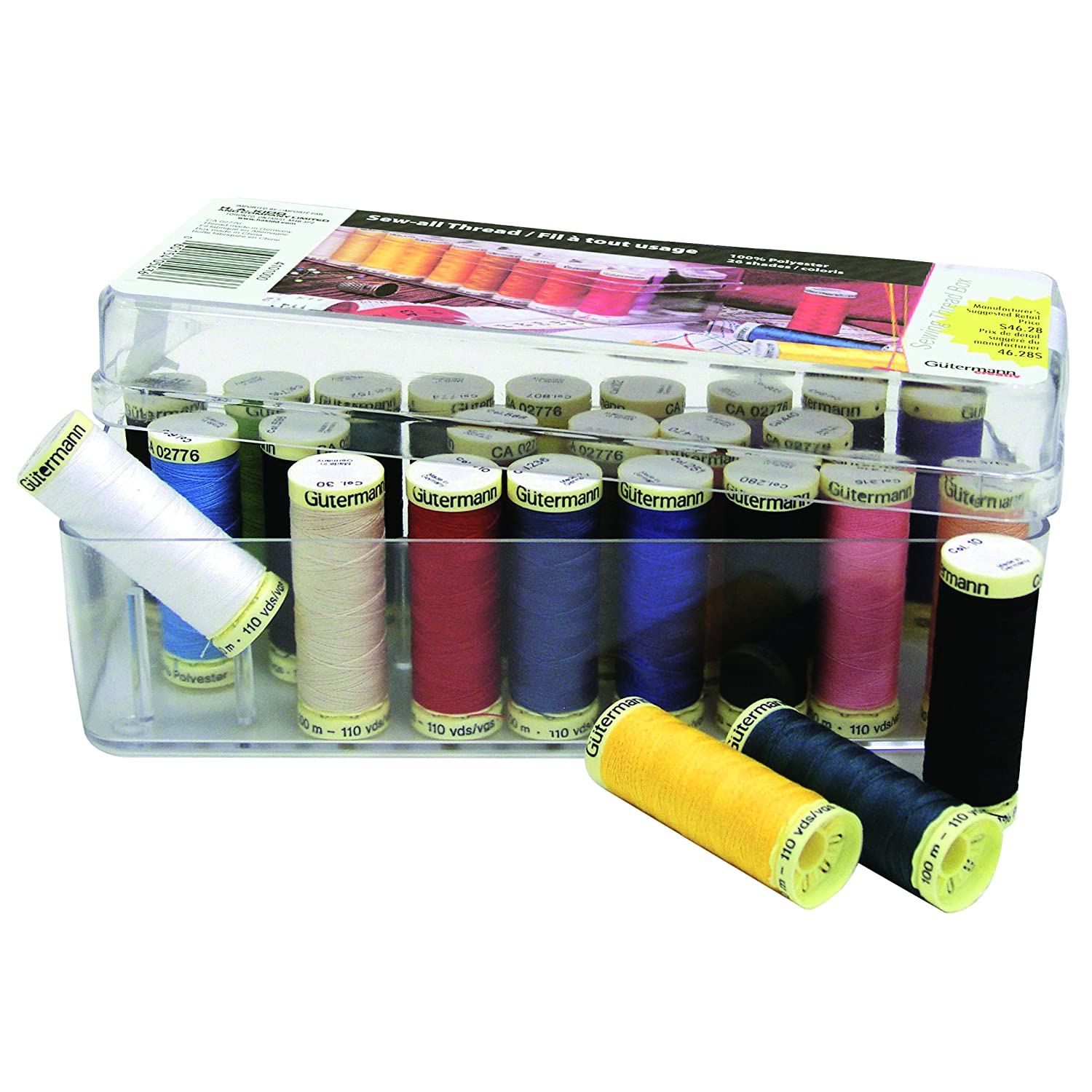 GÜTERMANN 26 pc MCT Sew-all 100m - Thread Set in Acrylic Box - Assorted Colours Bartim