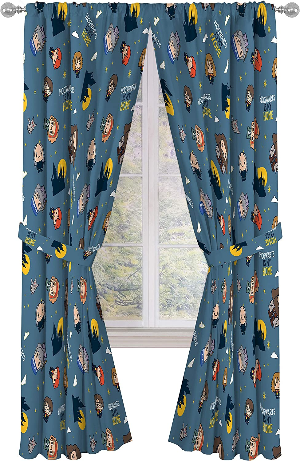 """Harry Potter Hogwarts Is My Home 84"""" Inch Drapes - Beautiful Room Décor & Easy Set Up Bedding Features Harry, Ron, & Hermione - Curtains Include 2 Tiebacks, 4 Piece Set (Official Harrt Potter Product)"""
