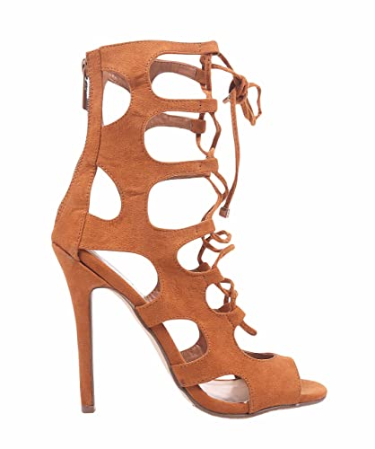 """503a559be561 Breckelle s Women Open Toe Faux Suede 4.75"""" Stiletto High Heels Ankle-High Lace  up"""