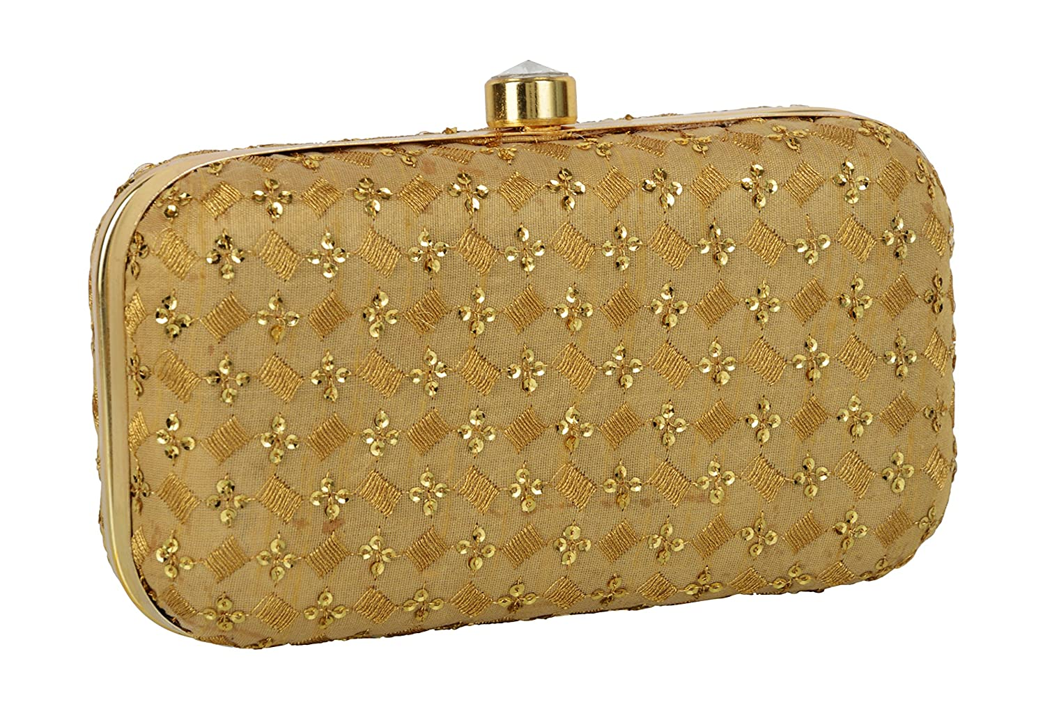 Tooba Women s Handicraft Hand Embroidered Velvet Box Clutch (Beige Gold)   Amazon.in  Shoes   Handbags 47c4652f085f2