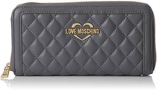 Portafogli Quilted Nappa Pu Grigio, Womens Clutch, Grey, 3x10x20 cm (B x H T) Love Moschino