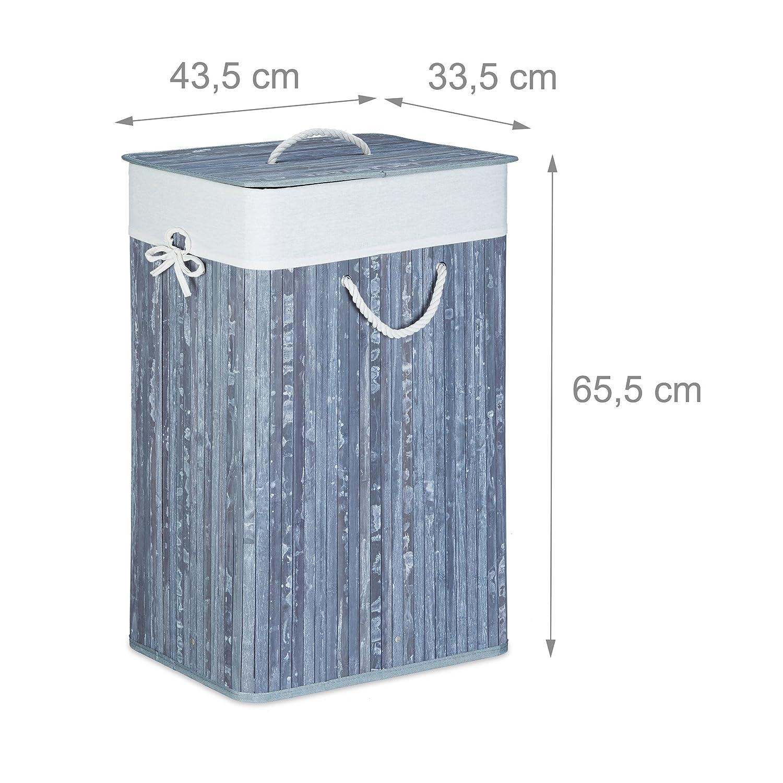 83 L Relaxdays 10019053/_53 Cesto Porta-Biancheria HxLxP: 65,5 x 43,5 x 33,5 cm Rettangolare Pieghevole Bamb/ù Verde
