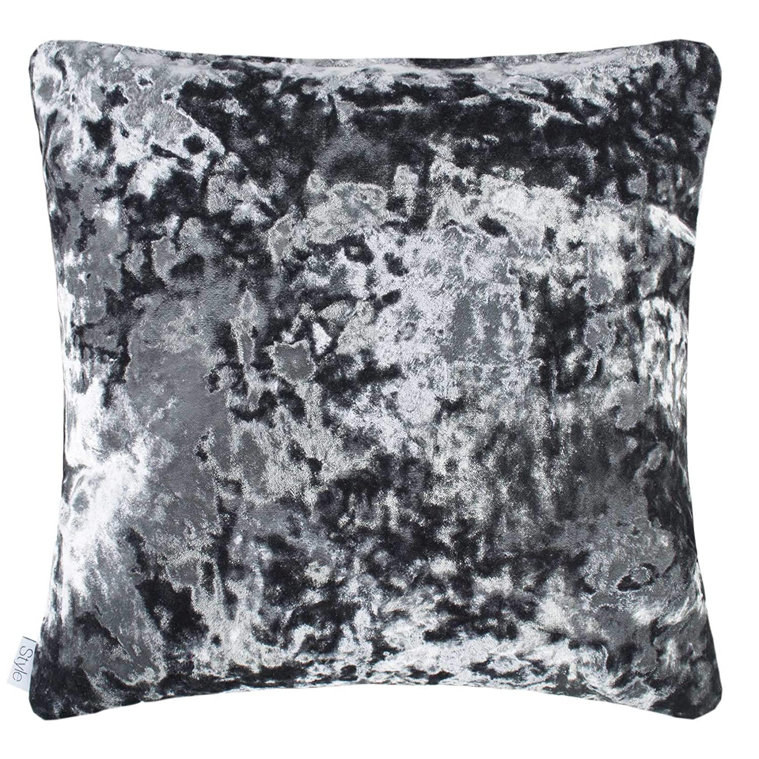 Style Merlin Luxury Faux Crushed Velvet Square Feather Filled Cushion Plumb 43cm X 43cm