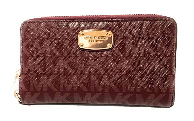 2be04558f778 Image Unavailable. Image not available for. Color  Michael Kors Jet Set  Item Large Flat Multifunction Phone Wristlet Case Merlot