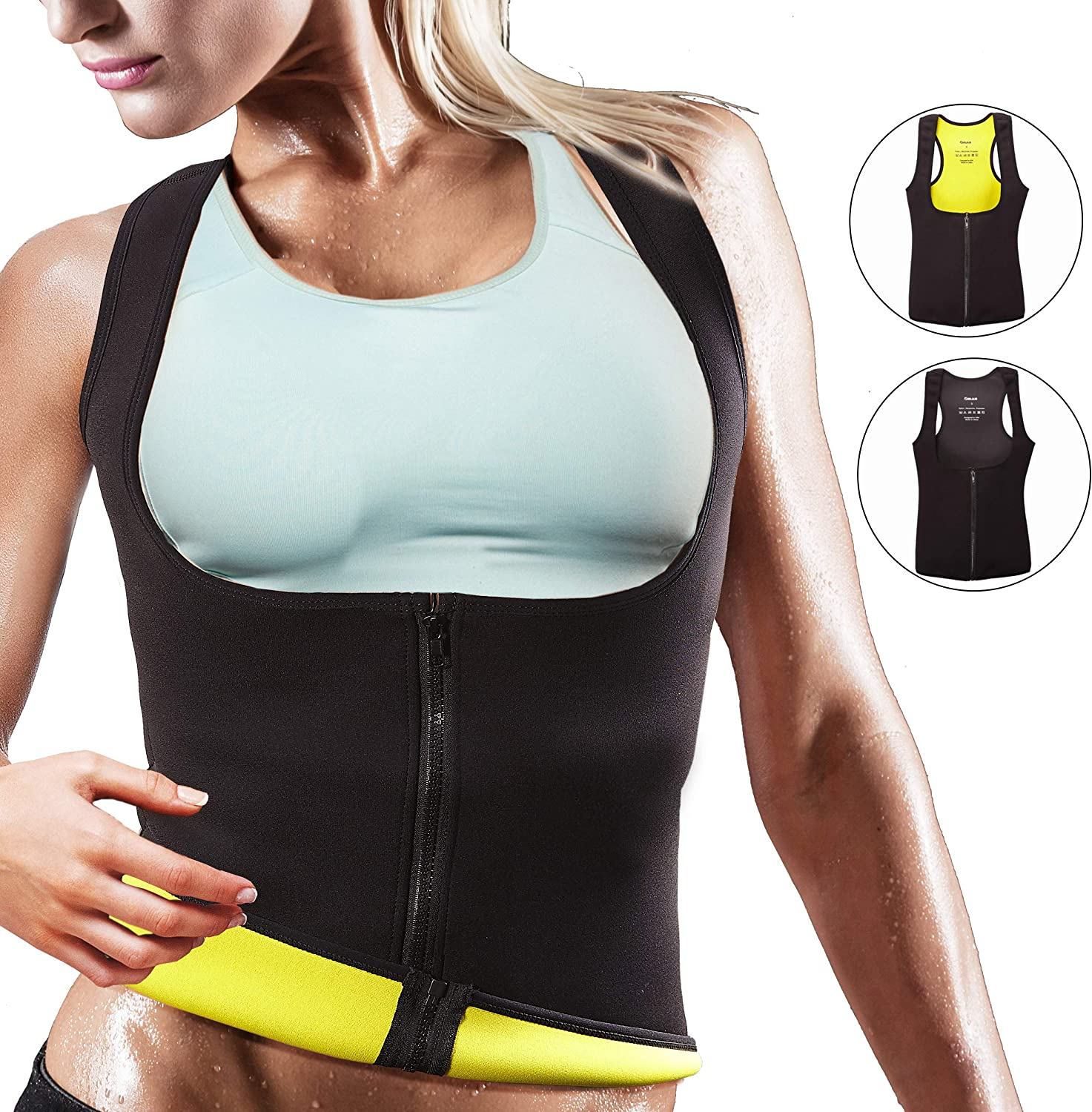 Body Shaper Tank Top Workout Training Fat Burning Slim Corset for Women Designed in The USA OMAX Women Waist Trainer Vest with Zipper Neoprene Sauna Sweat Vest for Weight Loss