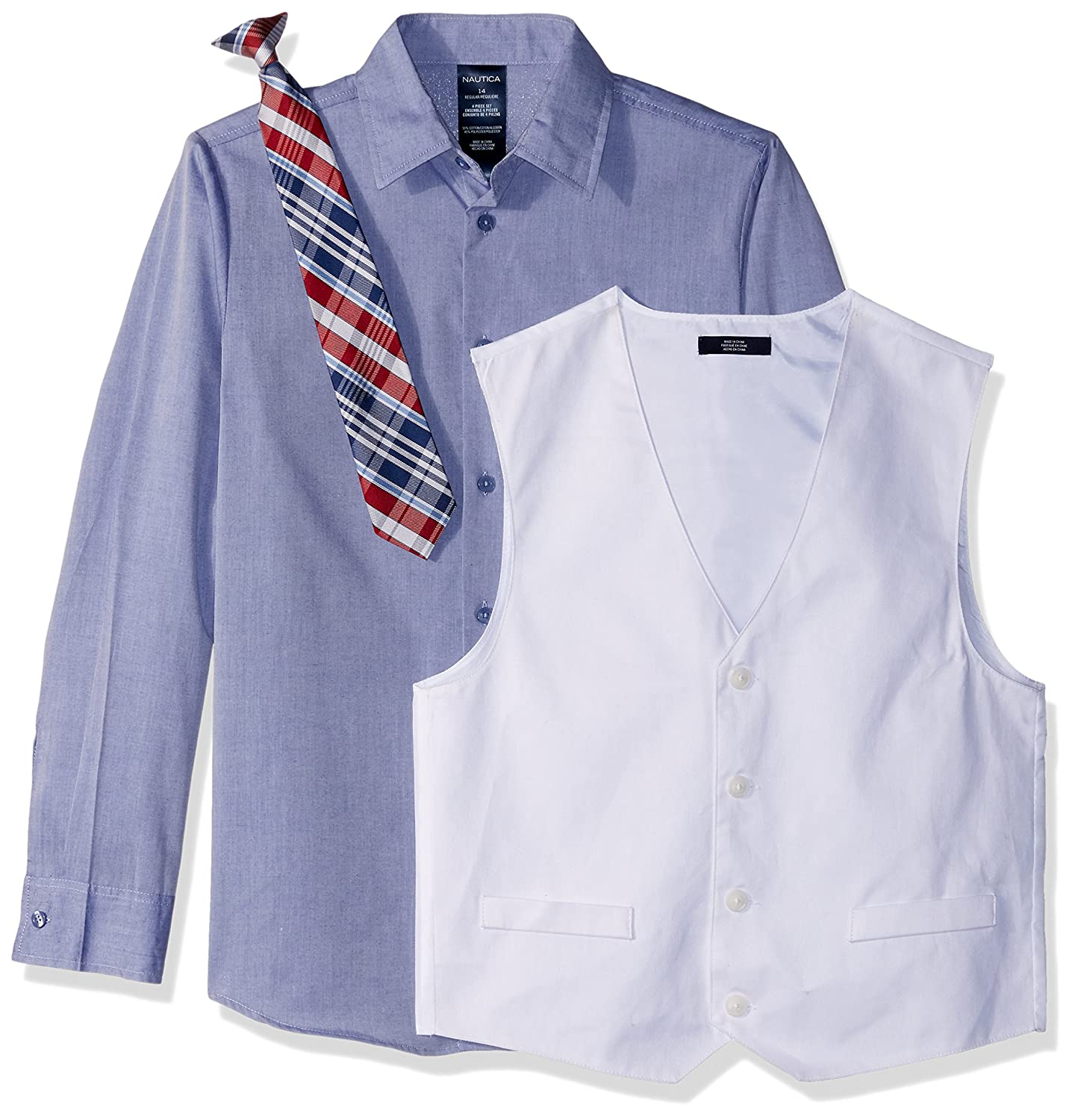 Nautica Boys 4-Piece Set with Dress Shirt and Shorts Vest Tie