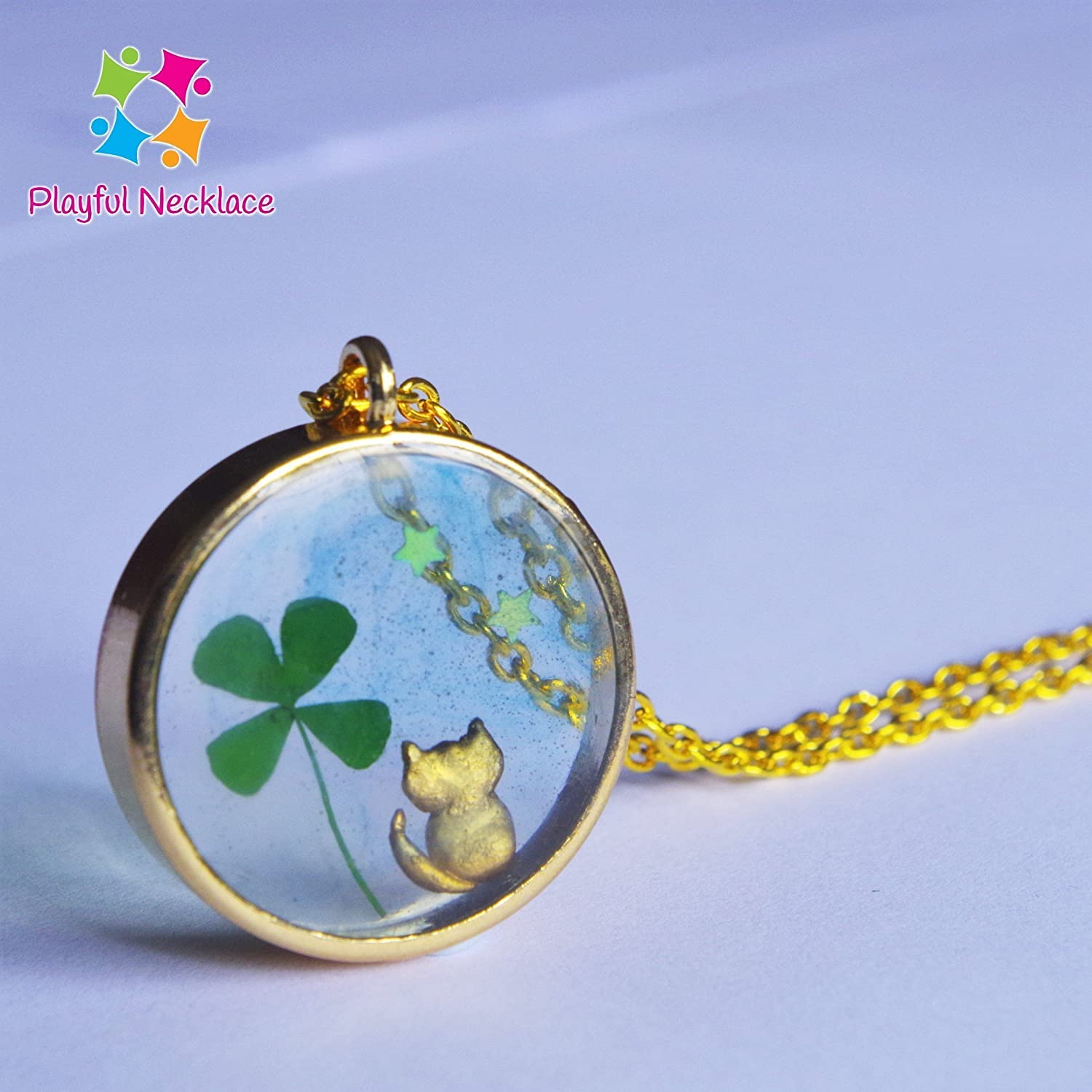 Real Dried Clover Leaf Locket Pendant Necklace Nature Pressed Flower Handmade