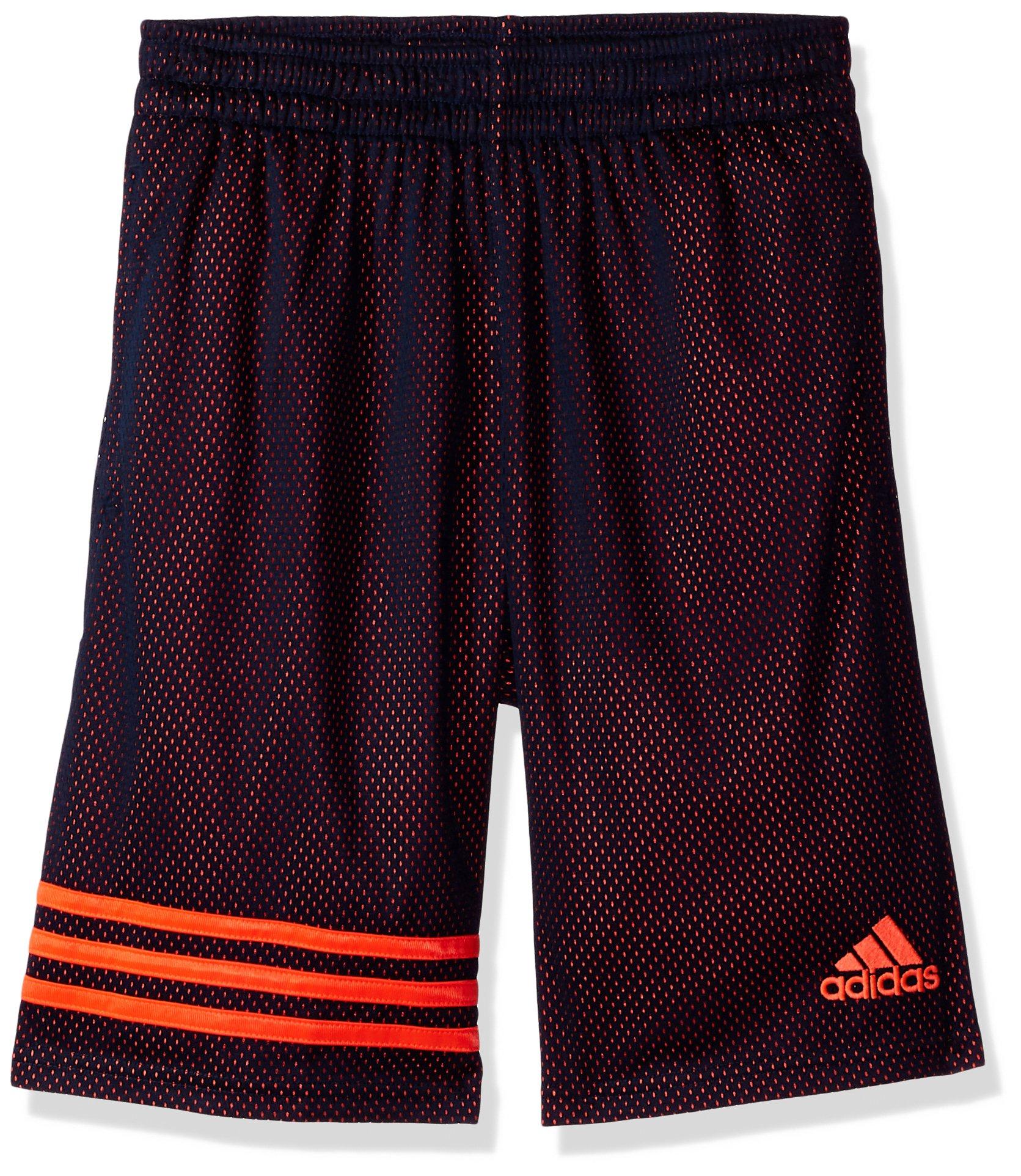 adidas Boys' Big Athletic Short, Navy Orange, X-Large