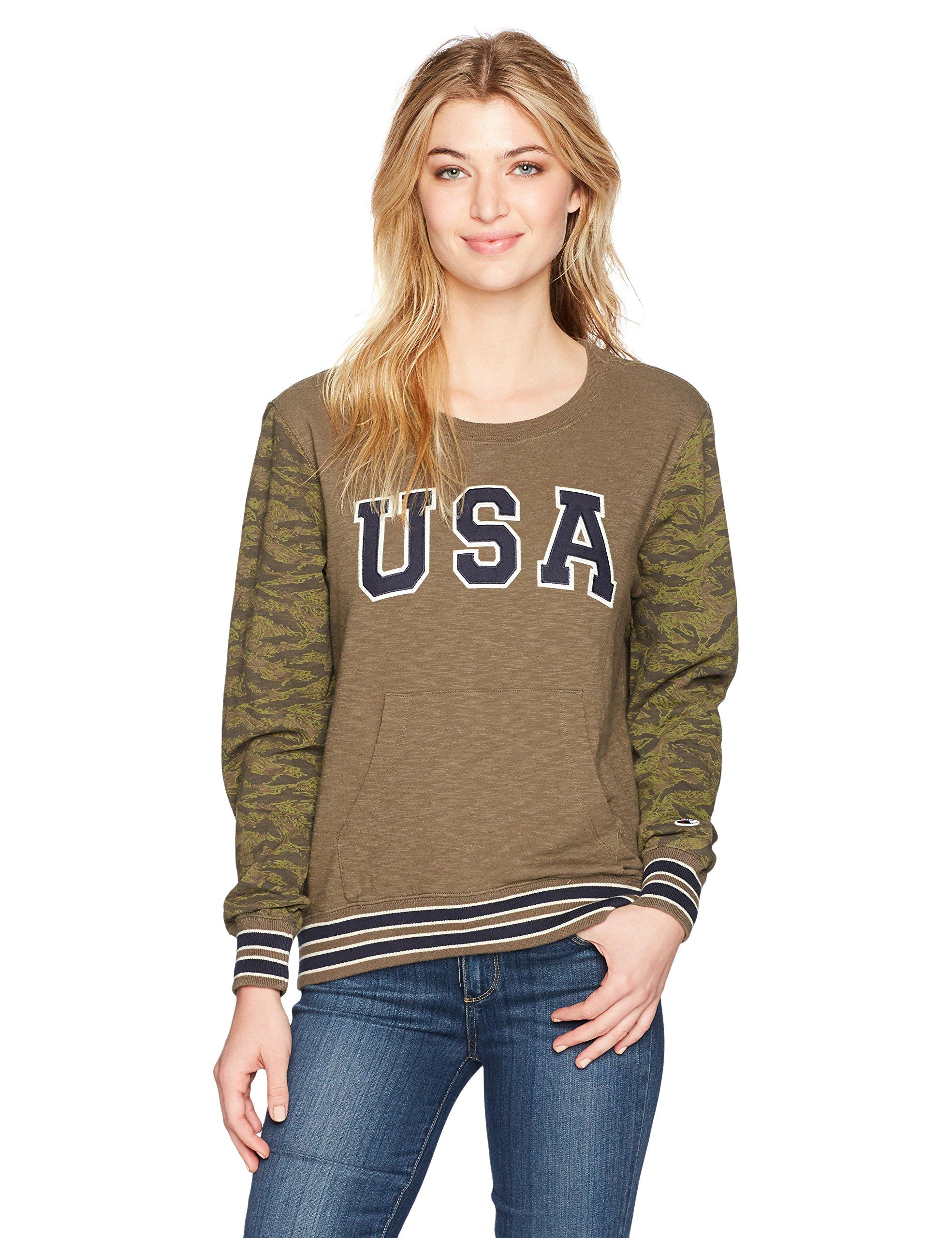 Champion Women's French Terry Sweatshirt (Edition), Green Camo, XXL