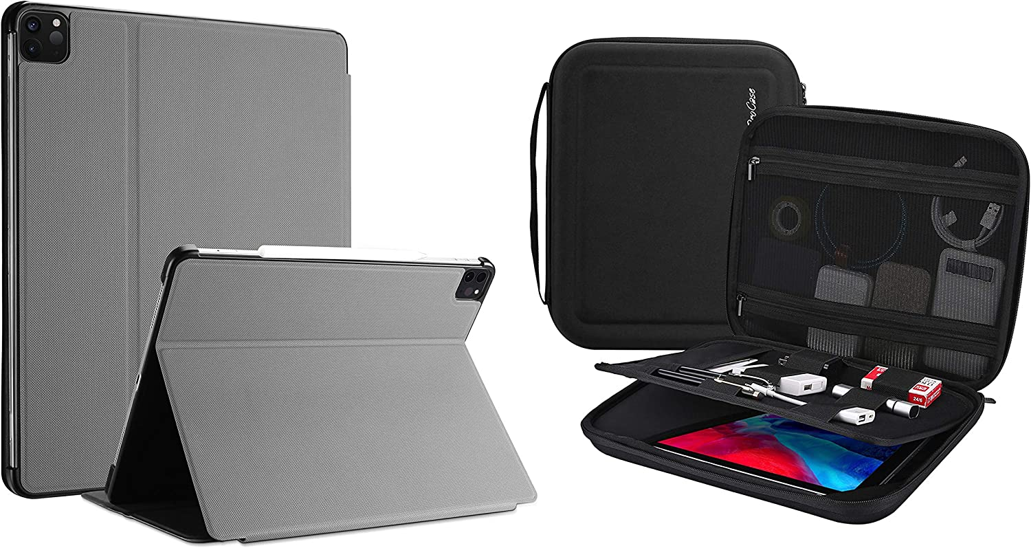 "ProCase iPad Pro 12.9 Case 2020 (4th Gen) & 2018 (3rd Gen) Bundle with Portable Portfolio Carrying Case for iPad Pro 12.9"" 2020 2018, MacBook 11""/ Galaxy Tab S7 Plus 12.4""/ Surface Pro X 7-1"