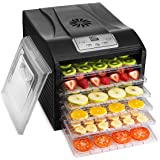 MAGIC MILL Food Dehydrator Machine, 6 Drying Racks Multi-Tier Food Preserver, Digital Control BUNDLE BONUS 2 Fruit Leather Trays, 1 Fine Mesh Sheets,