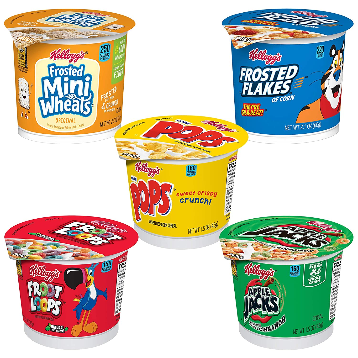 Kellogg's Cereal in a Cup Variety Pack - 5 Tasty Flavors, Portable Breakfast (Pack of 24 Cups)