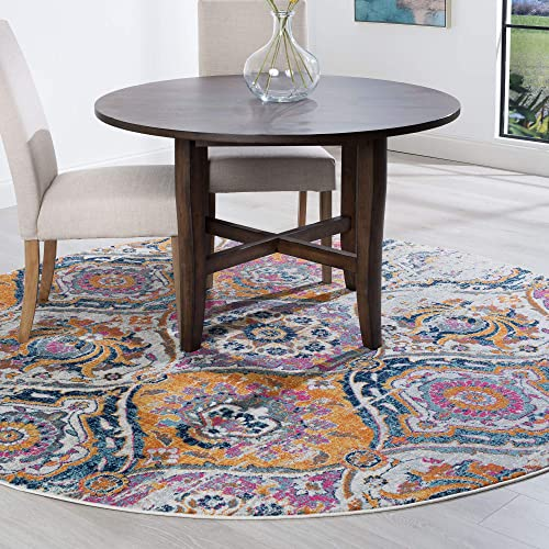 Tayse Beatrice Pink 6 Foot Round Area Rug