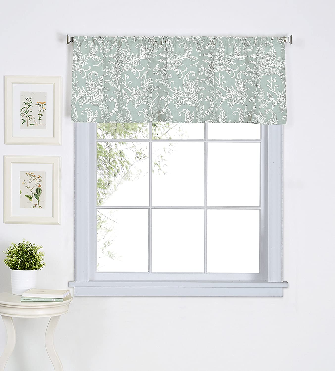 Elrene Home Fashions 026865775754 Floral Rod Pocket Cafe/Kitchen Valance Window Curtain, 60
