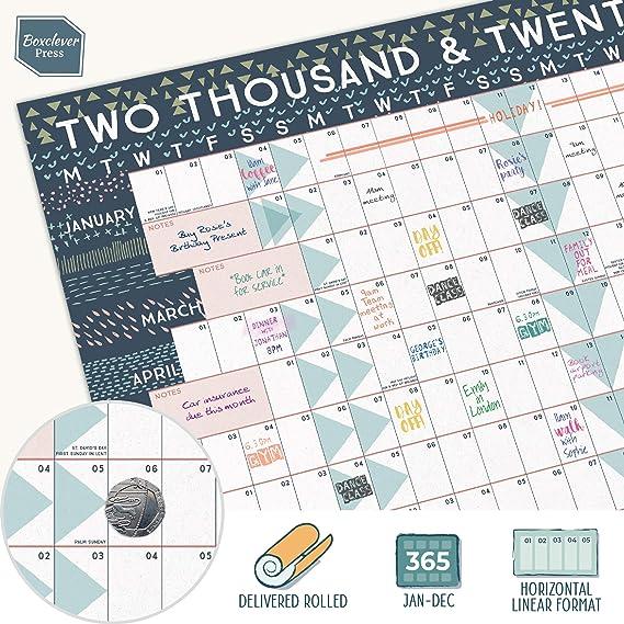 Boxclever Press Wandkalender 2020 2020 Querformat Laminiert