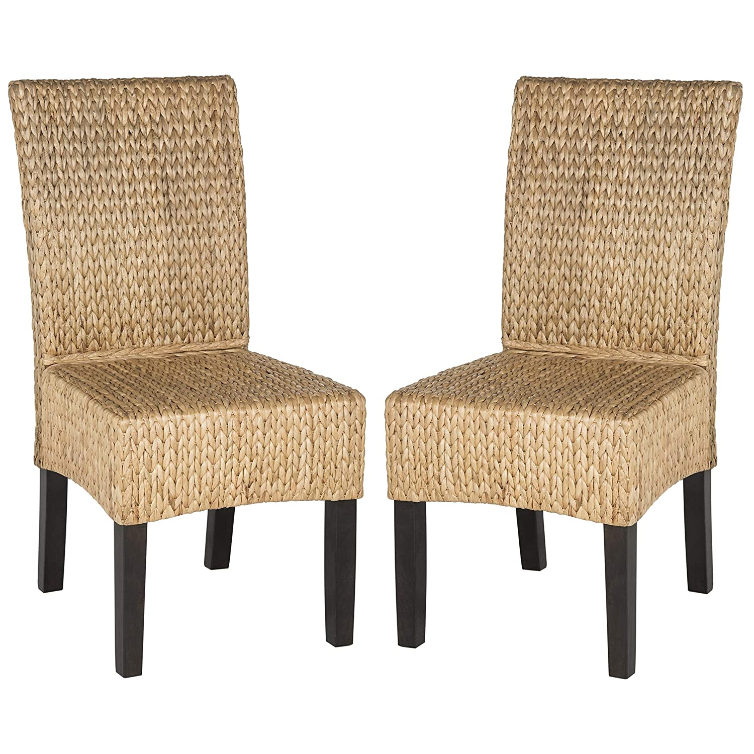 Safavieh Home Collection Luz Natural Wicker Dining Chair Set of 2 , 18 , Brown