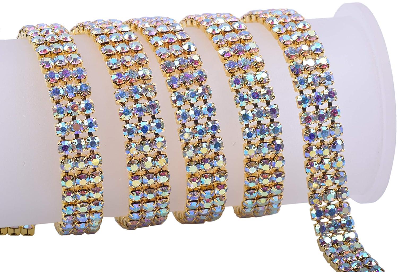 KAOYOO 2 Rows 2 Yards Crystal Rhinestone Close Chain Trim,SS16//4.0mm//0.16,Rose Golden Chain with Clear Crystal Rhinestone