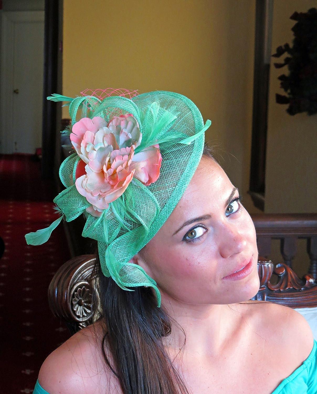 4f8c48e2 Amazon.com: Green fascinator coral ombre flower fascinator hat, wedding hat,  Womens Tea Party Hat, Church hat, Fancy hat: Handmade