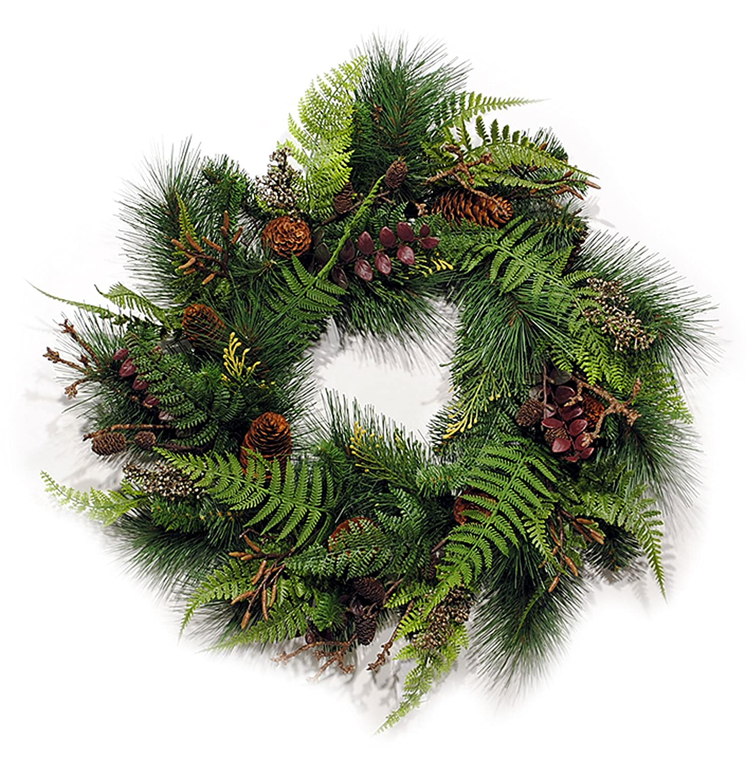 Artificial Mixed Fern Glen and Pine Bough Wreath with Pine Cones