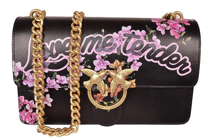 Borsa Pinko Love Me Tender Flowers in Pelle Nera con Stampa Floreale Fiori  Rosa Lilla Logo d8e51dc28e4