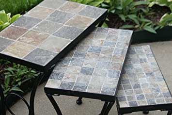 Attractive Set Of 3 Outdoor Patio Side Accent Nesting Tables   Slate