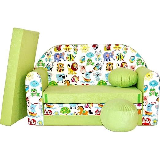 Sofá cama infantil para niños mobile 3in1 Pikolino verde Zoo ...