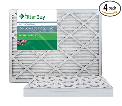 filterbuy 24x36x1 merv 13 pleated ac furnace air filter, (pack of 4 ...
