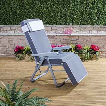 25cce7a181b5 Alfresia Relaxer Chair - Silver Frame with Luxury Grey Cushion:  Amazon.co.uk: Garden & Outdoors