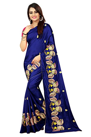 9700c0689f Shailaja Saree Women's Paper Silk Peacock Work Wedding Wear Saree With  Blouse Piece (Blue)