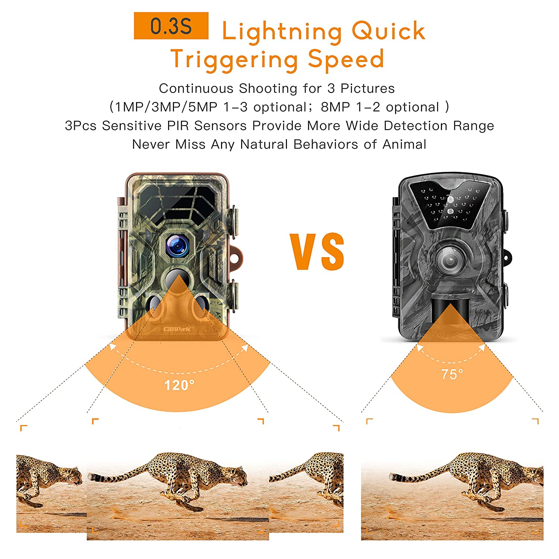 Campark Wildlife Cámara de Caza HD IP66 Trail Cámara 120 ° Gran Angular con Activación por Sensor de Movimiento Visión Nocturna e Infrarrojos Indicada para ...