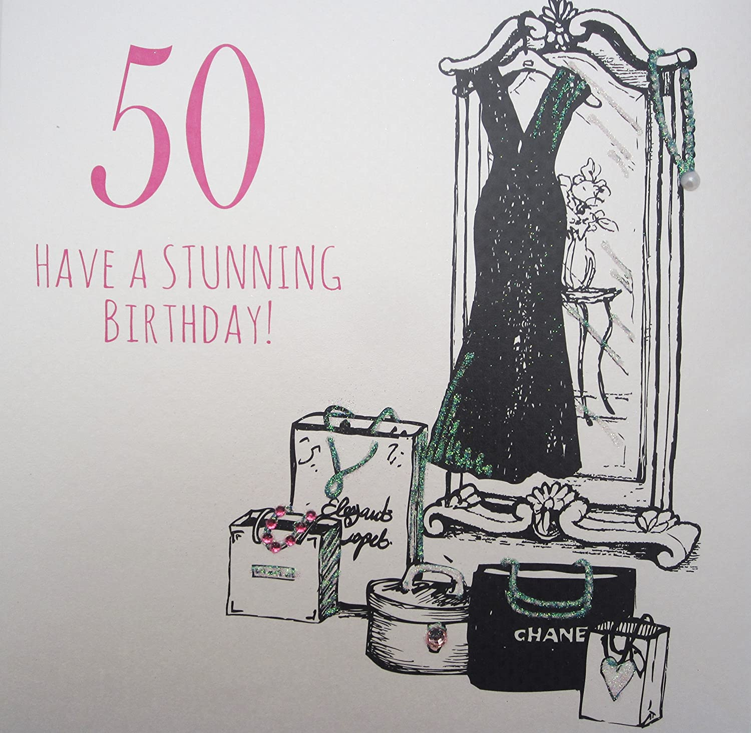 WHITE COTTON CARDS 50 Have A Stunning Hanmade Large 50th Birthday Card Code XEA50 Amazoncouk Kitchen Home