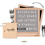 """Great Gift Idea 2 Free Cotton Bags Complete Package 498 Black And White Letters Numbers Emoji And Symbols Premium Oak Wood Felt Letter Board Double Sided 10/""""/×10/"""" Grey// Black Oak Stand"""