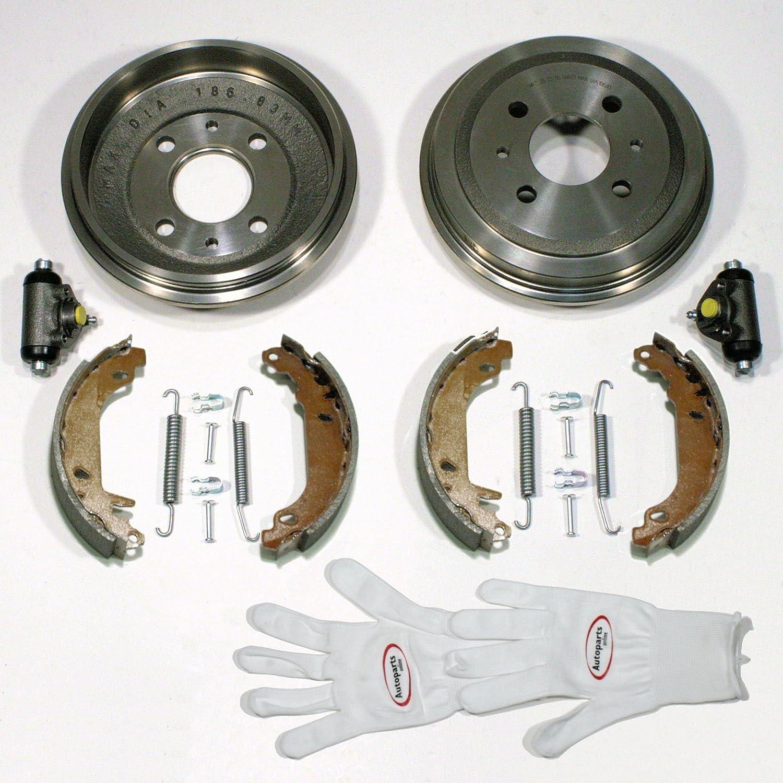 Autoparts-Online Set 60009508 Bremstrommeln/Bremsen + Bremsbacken + Radzylinder + Zubehö r Hinten